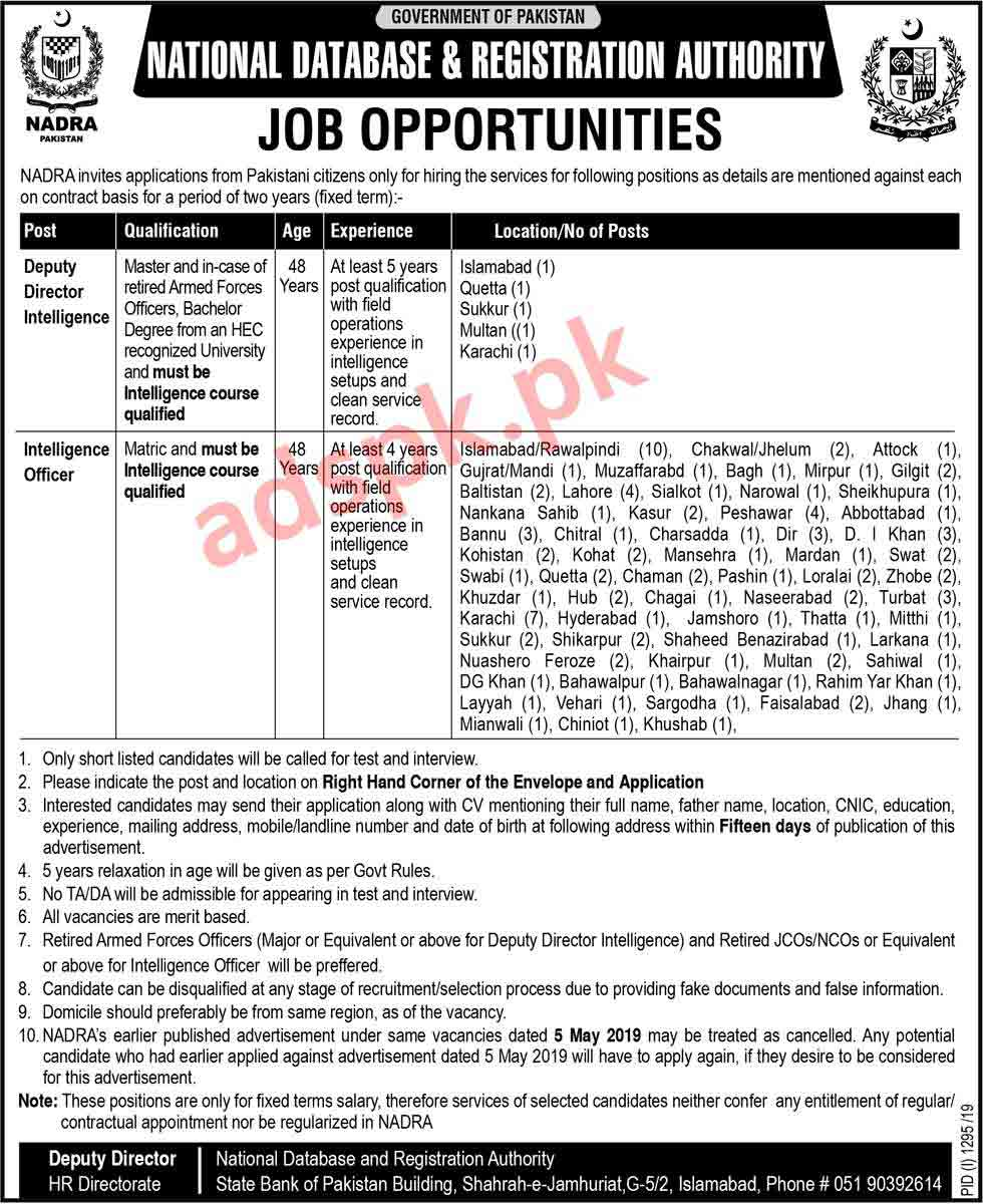 115 Jobs NADRA Pakistan Jobs 2019 for Deputy Director Intelligence and Intelligence Officer Jobs Application Deadline 23-09-2019 Apply Now