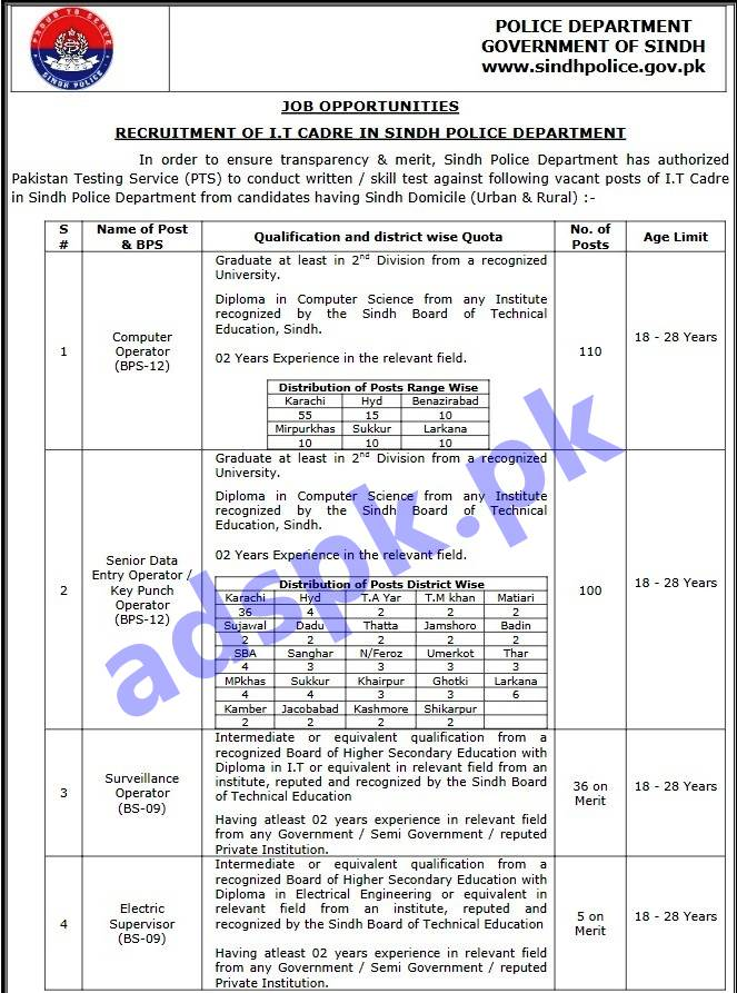 1618 Jobs Sindh Police Department Information Technology