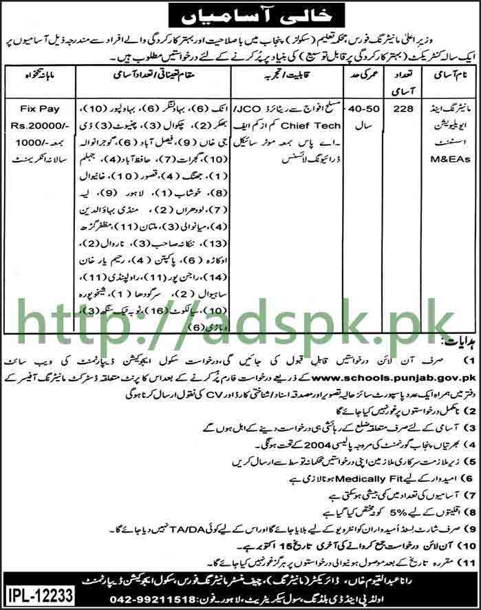 228 Jobs Monitoring & Evaluation Assistant CM Punjab Monitoring Force School Education Department Jobs 2017 M&EAs Punjab Various Districts Jobs Application Form Deadline 15-10-2017 Apply Online Now