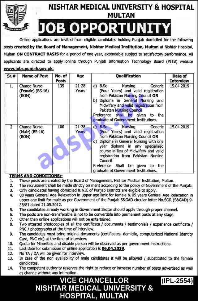 235 Charge Nurse Jobs Nishtar Medical University & Hospital Multan Jobs 2019 for Charge Nurses (BOM) Male-Female Jobs Application Deadline 06-04-2019 Apply Online Now