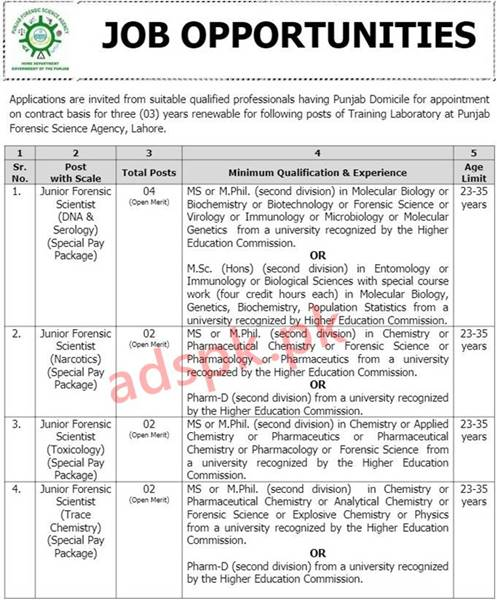 25+ Jobs Punjab Forensic Science Agency Lahore Jobs 2021 NTS Written Test MCQs Syllabus Paper for Junior Forensic Scientist Jobs Application Form Deadline 31-03-2021 Apply Online Now