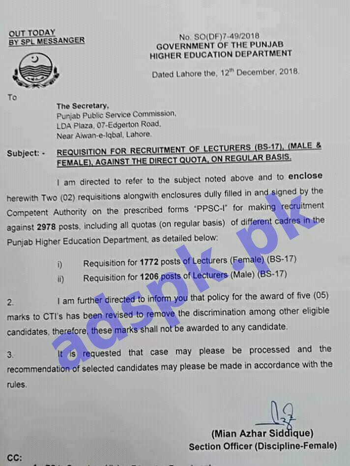 PPSC Lecturer Jobs Higher Education Department Government of the Punjab Lahore Latest Notification No. SO(DF)7-49/2018 Dated 12-12-2018.