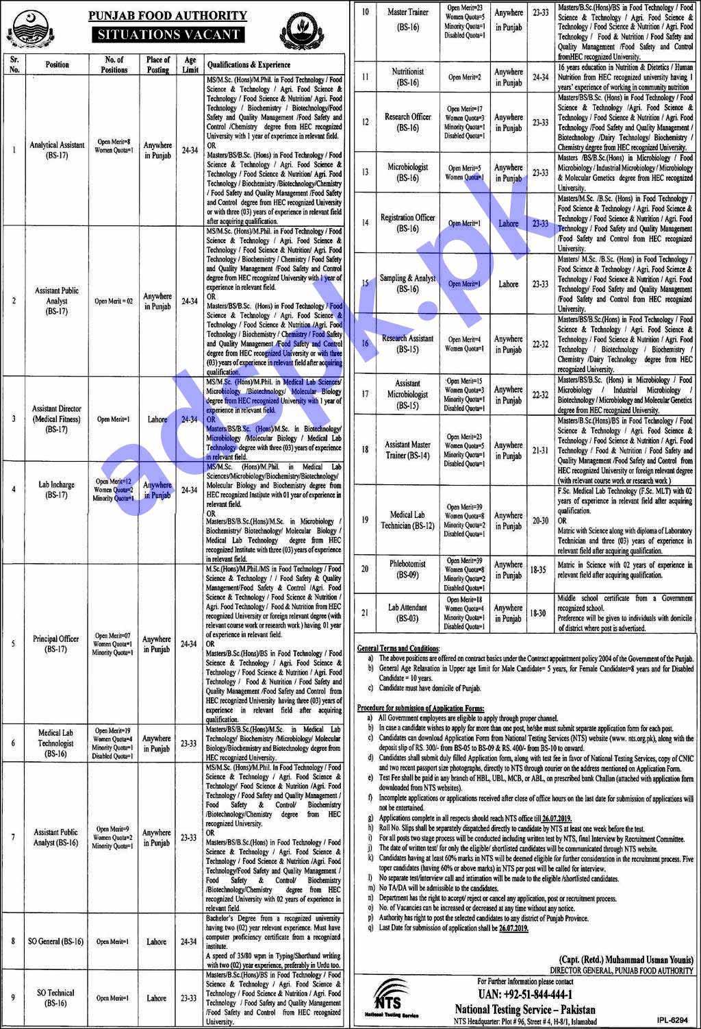316 Jobs Punjab Food Authority PFA Jobs 2019 NTS Written Test MCQs