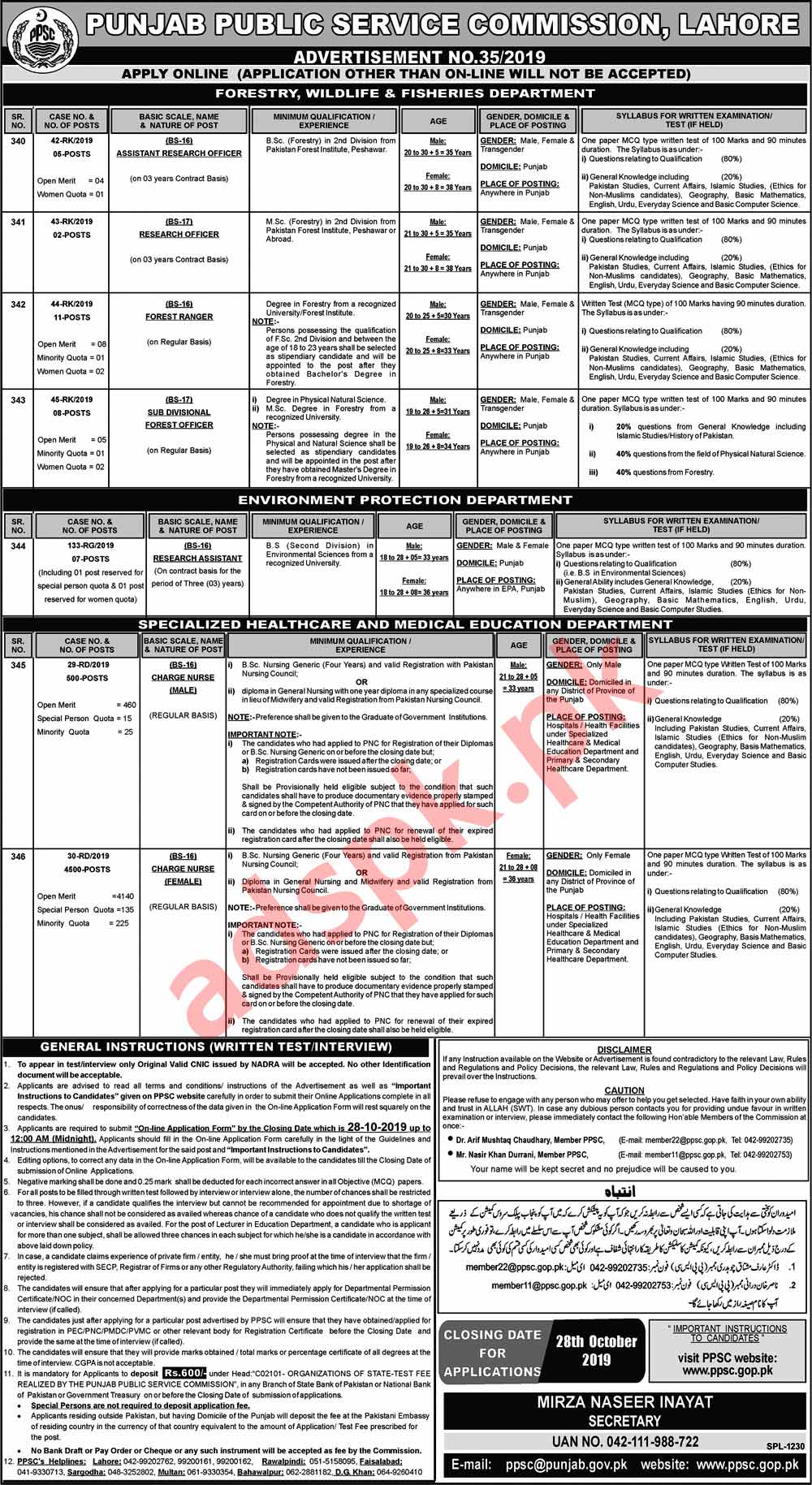 5000 Charge Nurses Jobs PPSC Ad No. 35-2019 Jobs Written Test MCQs Syllabus Paper for Charge Nurse (Male-Female) Forest Ranger Sub Divisional Forest Officer Research Assistant Jobs Application Form Deadline 28-10-2019 Apply Online Now