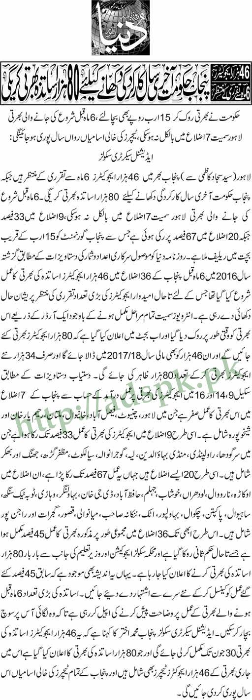 80000 Educators Punjab Govt. Recruitment in 2017-2018 including New 34000 Educators Teachers Recruited in this Year Must Read Now
