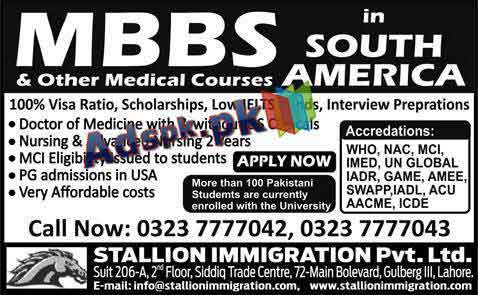 Admissions Open 2014-15 in South America USA for M.B.B.S and Other Medical Courses, Male-Female Students Apply Now (Adspk.pk)
