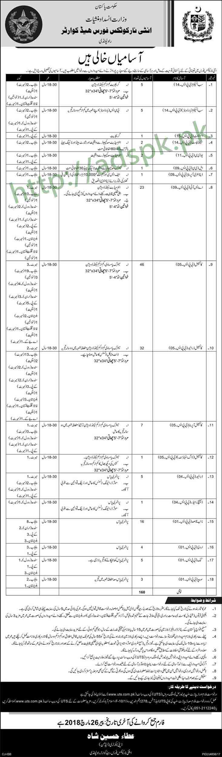 Anti-Narcotics Force ANF HQ Rawalpindi Jobs 2018 UTS Written Test MCQs Syllabus Paper Sub Inspector ASI Data Entry Operator Constable Driver Constable Naib Qasid 160 Posts Jobs Application Form Deadline 26-03-2018 Apply Now by Universal Testing Services