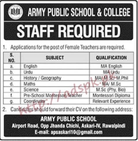 Army Public School & College Rawalpindi Islamabad Jobs 2018