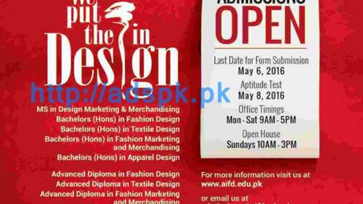 Asian Institute Of Fashion Design Iqra University Karachi Admissions Open 2016 For Ms Bachelors Advanced Diploma In Fashion Textile Designing Last Date 06 05 2016 Apply Now Adspk Pk Very Helpful For Students