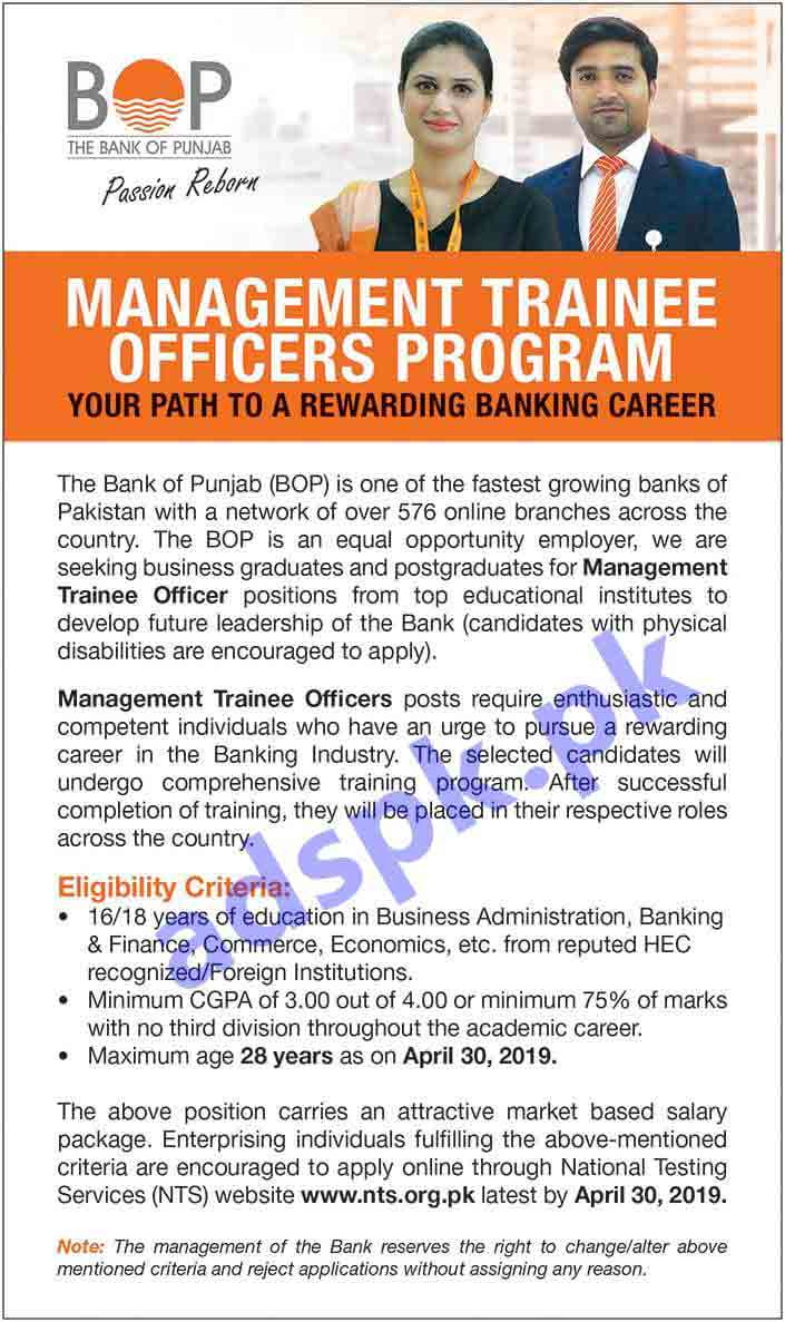 BOP Bank of Punjab Jobs 2019 NTS Written Test MCQs Syllabus Paper for Management Trainee Officers Program MTO Jobs Application Form Deadline 30-04-2019 Apply Online Now