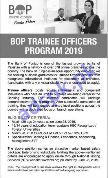 BOP Trainee Officers Program 2019 NTS Written Test MCQs