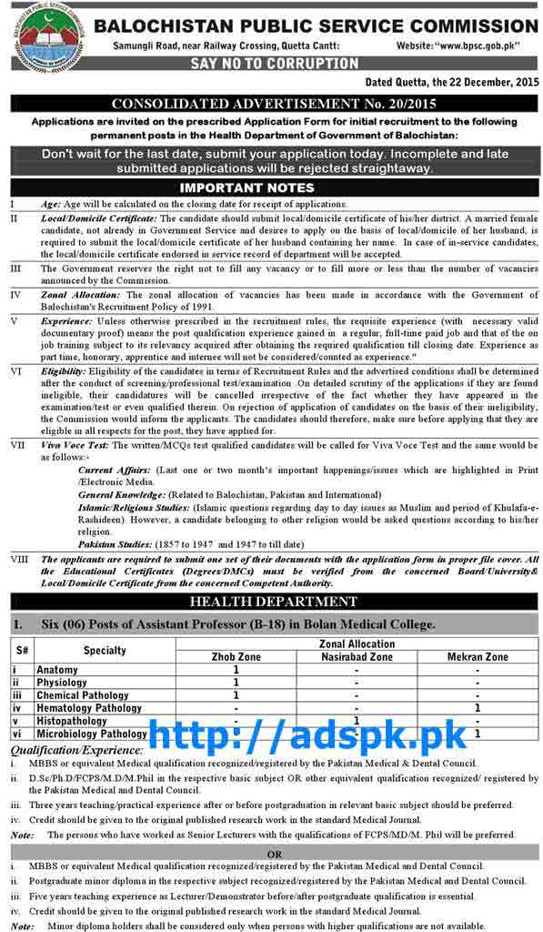 BPSC Govt  Jobs Ad No  20-2015 Jobs Written Test Syllabus Details