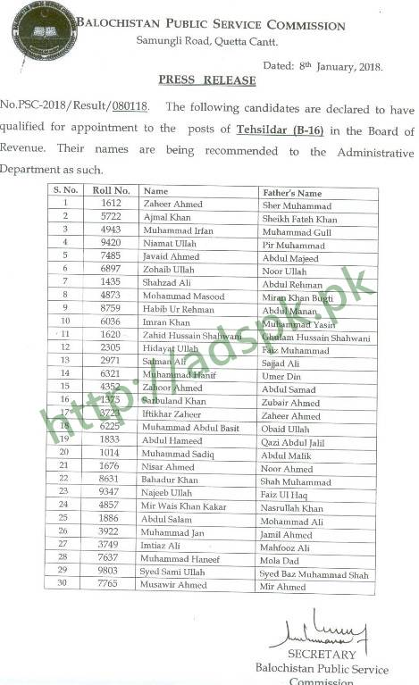 BPSC Tehsildar Results 2018 Board of Revenue Results Updated on 08-01-2018 by Balochistan Public Service Commission Quetta