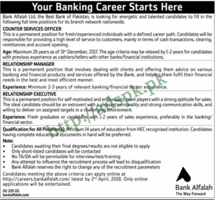 Bank Alfalah Jobs 2018 Counter Services Officer Relationship Manager Relationship Executive Jobs Application Deadline 02-04-2018 Apply Online Now