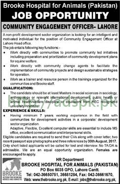 Brooke Hospital for Animals P.O Box 6035 GPO Lahore Jobs 2017 Community Engagement Officer Jobs Application Deadline 30-08-2017 Apply Now