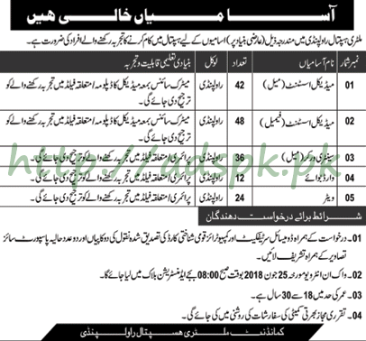 CMH Rawalpindi Jobs 2018 Medical Assistant Male-Female and