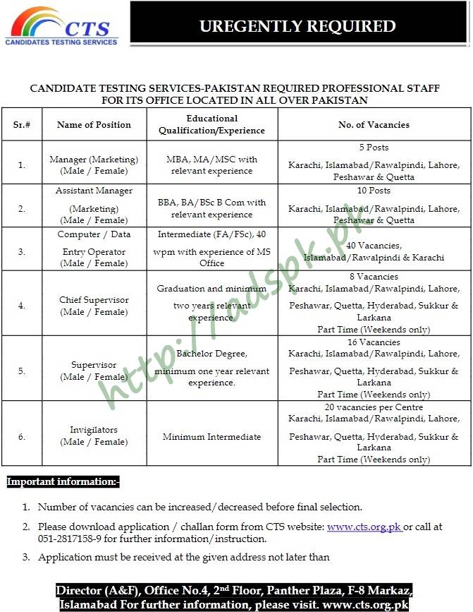 CTS Candidates Testing Services All Over Pakistan Jobs 2018 CTS Test