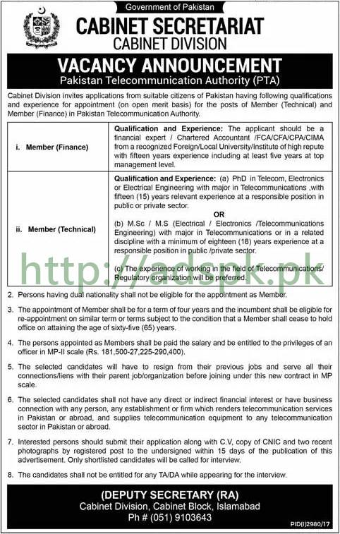 Cabinet Division Pakistan Telecommunication Authority PTA Islamabad Jobs 2017 Member Finance Member Technical Jobs Application Deadline 21-12-2017 Apply Now