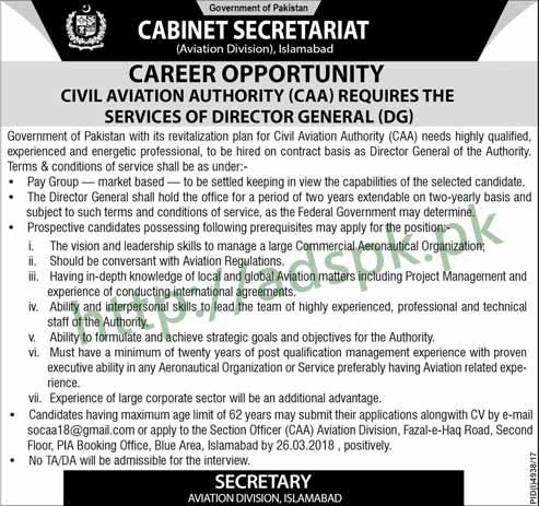 Cabinet Secretariat Civil Aviation Authority Aviation Division Islamabad Jobs 2018 Director General Jobs Application Deadline 26-03-2018 Apply Now