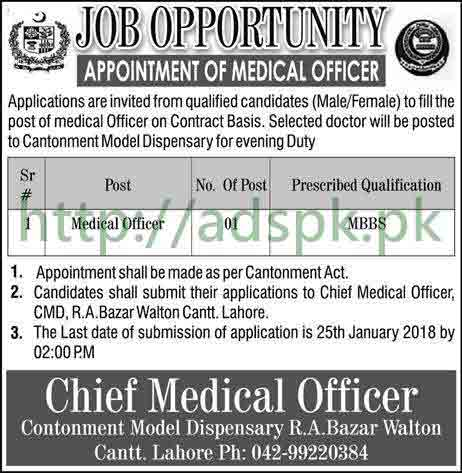 Cantonment Model Dispensary Lahore Jobs 2018 Medical Officer Jobs Application Deadline 25-01-2018 Apply Now