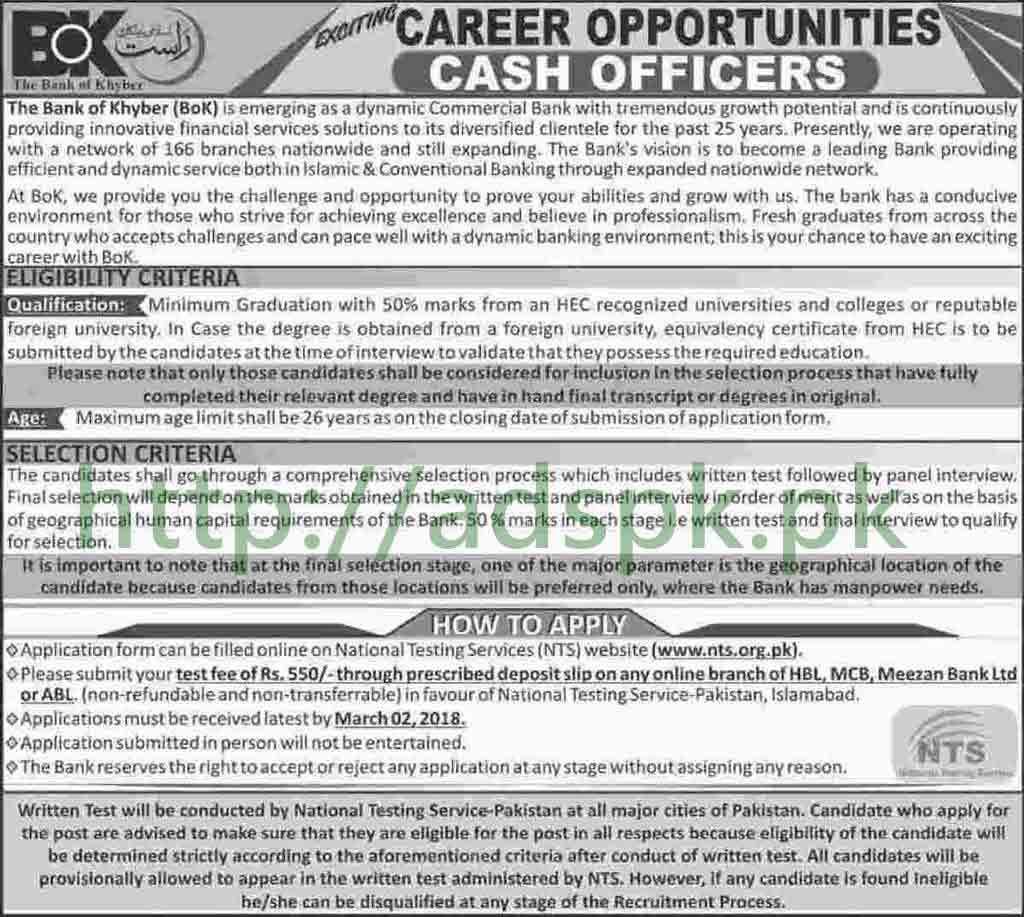 Cash Officers BOK Jobs 2018 Bank of Khyber Career Opportunities NTS Written Test MCQs Syllabus Paper Cash Officer Jobs Application Form Deadline 02-03-2018 Apply Online Now by NTS Pakistan