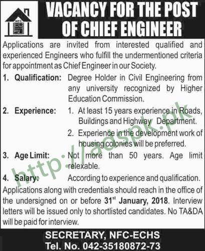 Employees Cooperative Housing Society NFC-ECHS Lahore Jobs 2018 Electrical Engineer Chief Engineer Jobs Application Deadline 31-01-2018 Apply Now