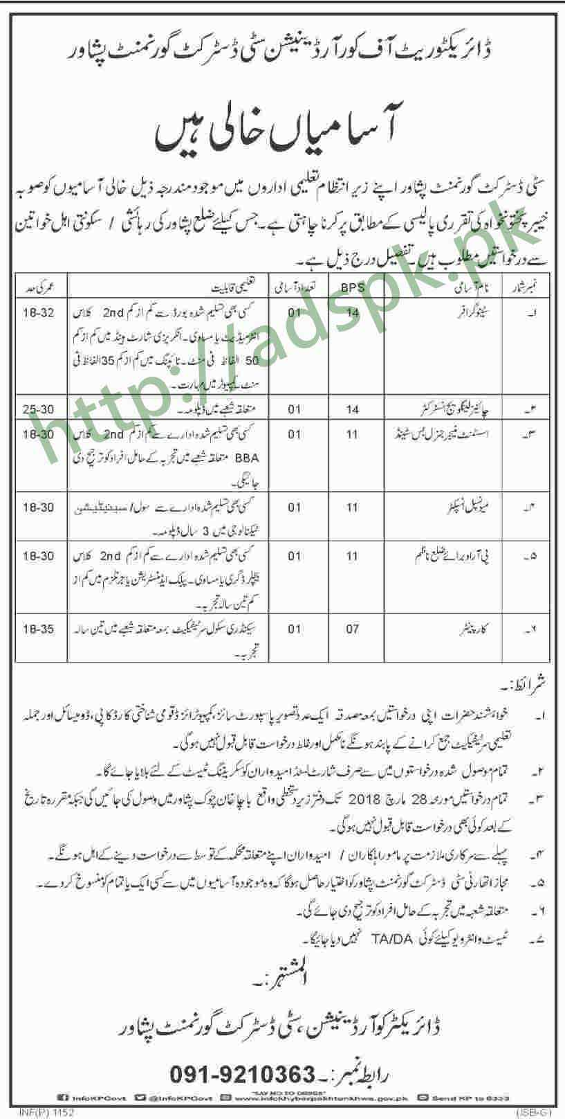 City District Government Peshawar KPK Jobs 2018 Stenographer Chinese Language Instructor Assistant Manager General Bus Stand Municipal Inspector Jobs Application Deadline 28-03-2018 Apply Now