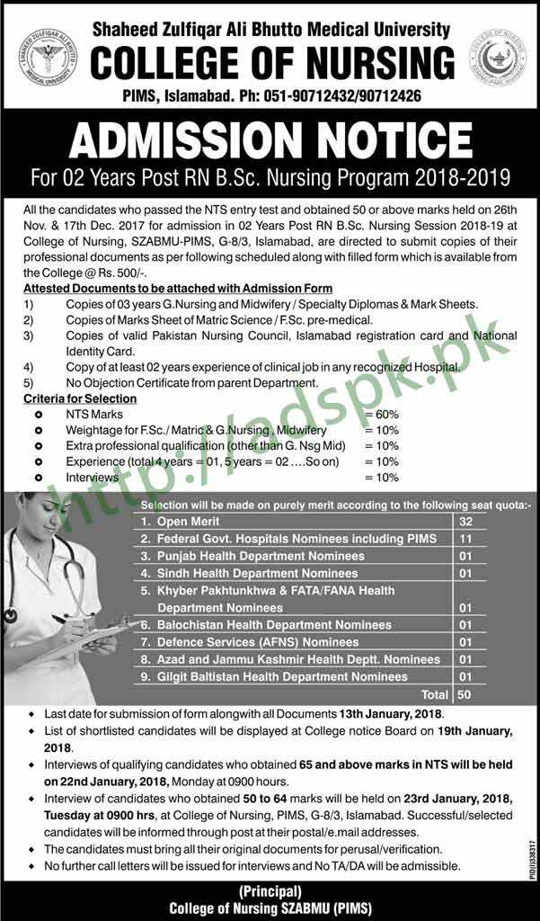 College of Nursing Admissions Open 2018-2019 SZABMU PIMS Islamabad 02 Years Post RN B.Sc Nursing ...
