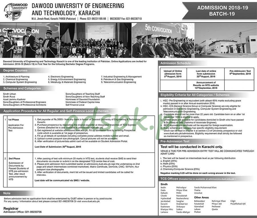 Dawood Engineering University Karachi DUET NTS Admissions Test 2018-19 Bachelor Degree Programs Application Form Deadline 20-08-2018 Apply Online Now by NTS Pakistan