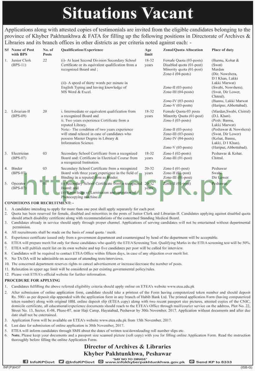 Directorate of Archives & Libraries KPK Peshawar Jobs 2017 ETEA Written Test MCQs Paper Junior Clerk Librarian Electrician Jobs Application Form Deadline 30-11-2017 Apply Now