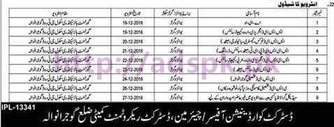 New Interview Schedule 2016-2017 Educators District Gujranwala