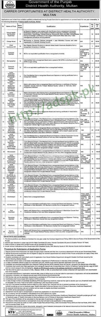 District health authority multan punjab government jobs 2018 nts district health authority multan punjab government jobs 2018 nts written test mcqs syllabus paper school health nutrition supervisor charge nurse computer fandeluxe Choice Image