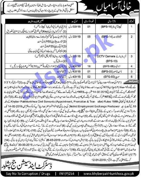 District & Sessions Judge Peshawar Jobs 2019 NTS Written Test MCQs Syllabus Paper Computer Operator Steno Typist Driver Jobs Application Form Deadline 14-02-2019 Apply Now