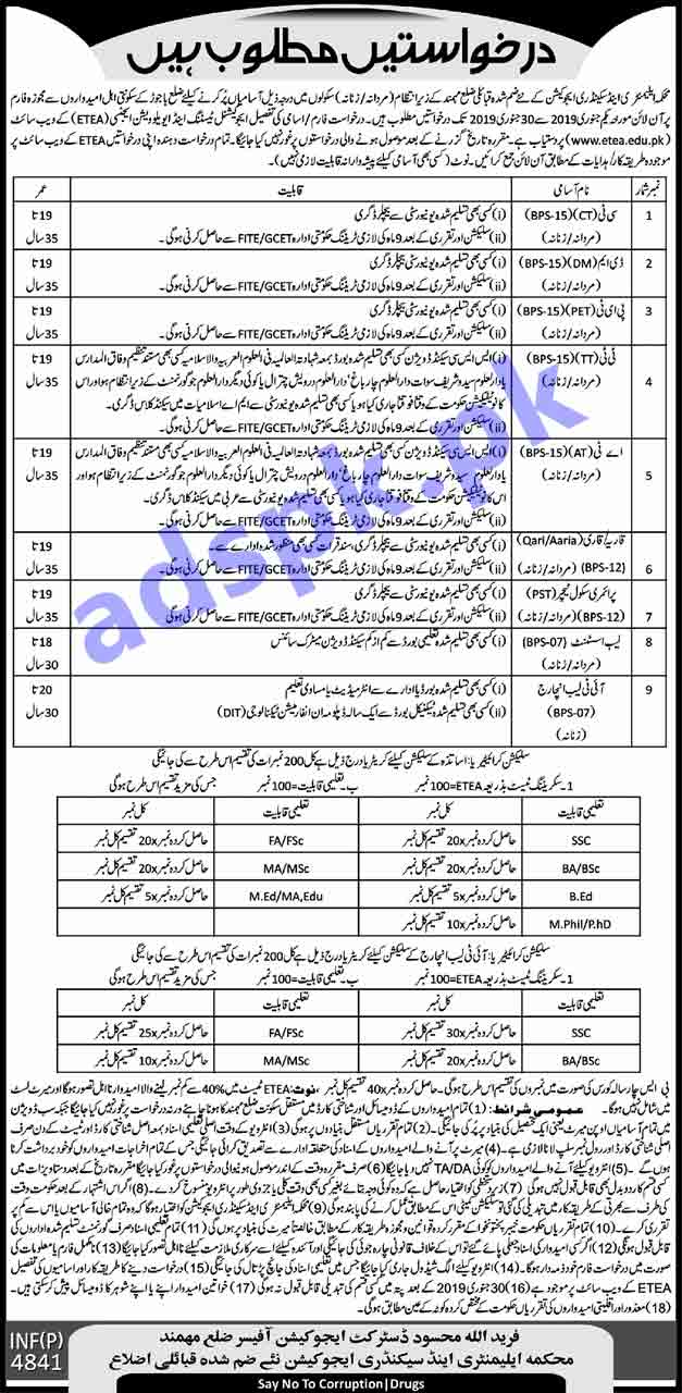 Elementary & Secondary Education Department Newly Merged Tribal District Mohmand Jobs 2019 ETEA Written Test MCQs Syllabus Paper for CT DM PET TT AT Qari Qaria PST Lab Assistant IT Lab Incharge Jobs Application Form Deadline 30-01-2019 Apply Online Now