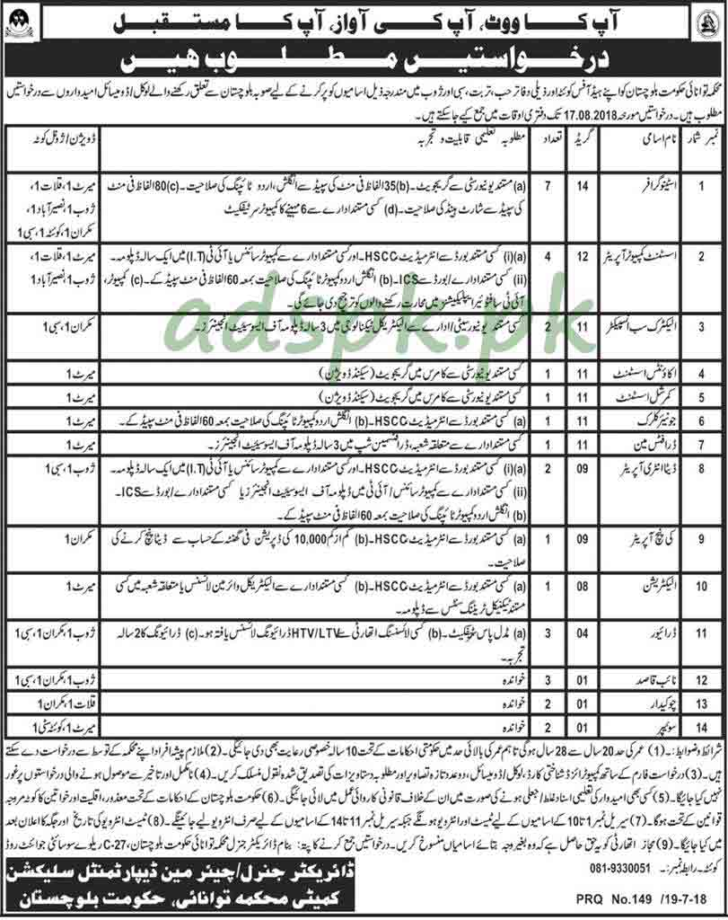 Energy Department Balochistan Government Quetta Jobs 2018 Stenographer Assistant Computer Operator Electric Sub Inspector Accounts Assistant Junior Clerk KPO Jobs Application Deadline 17-08-2018 Apply Now
