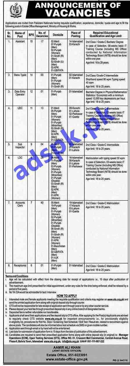 Estate Office Management Ministry of Housing and Works Jobs 2019 OTS Written Test MCQs Syllabus Paper for Assistant Steno Typist Data Entry Operator UDC Sub Inspector LDC Accounts Clerk Receptionist Jobs Application Form Deadline 02-06-2019 Apply Now