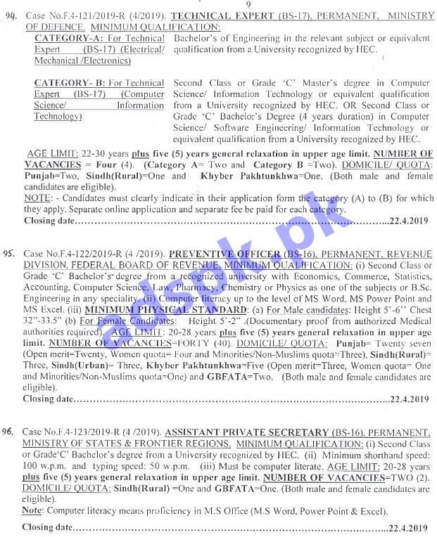 FPSC Ad No  04/2019 Jobs Written Test MCQs Syllabus Paper