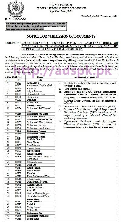 FPSC Assistant Director (Geology) F 4-198/2016 in Candidate