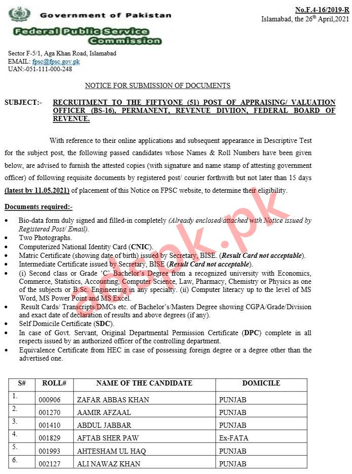 FPSC Documents Required Appraising/ Valuation Officer F.4-16/2019-R Documents Submission Last Date 11-05-2021 by FPSC Islamabad