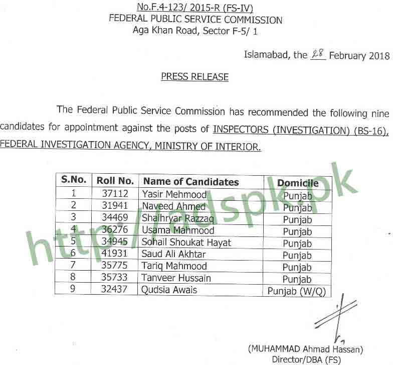 FPSC Final Results Inspector Investigation FIA F.4-123/2015 Federal Investigation Agency Ministry of Interior Results Updated on 01-03-2018 by Federal Public Service Commission Islamabad