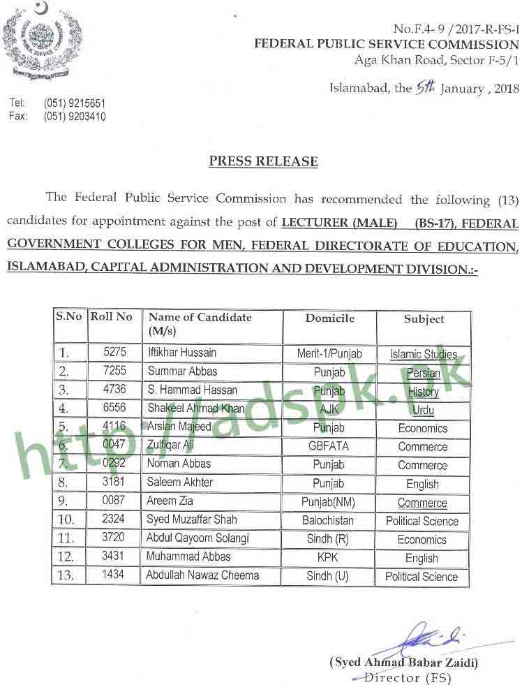 FPSC Final Results Recommended List Lecturer Male F 4-9/2017