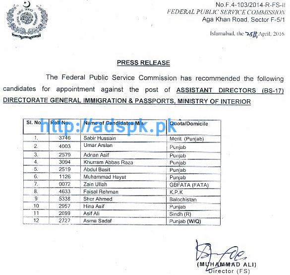 Fpsc Latest Appointment Against Jobs Of Assistant Director