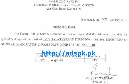 Fpsc Latest Appointment Against Jobs Of Deputy Assistant Director F 4 159 2013 In Directorate