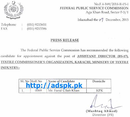 FPSC Latest Jobs Appointment against Jobs of Assistant