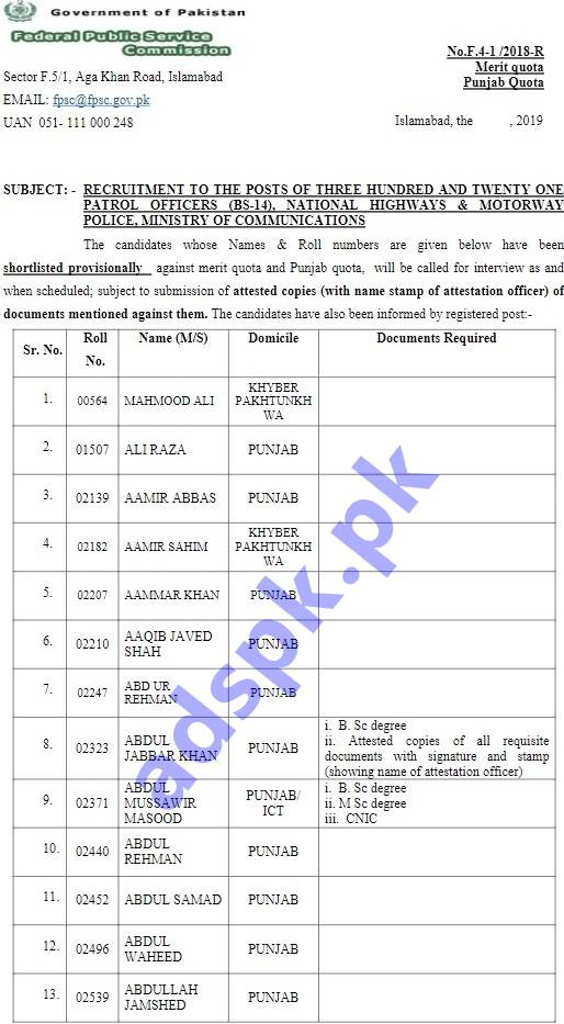 FPSC Results 2019 Provisionally Pre-selected List Patrol Officer F.4-01/2018-R in National Highways & Motorway Police Results Updated on 12-04-2019 by FPSC Islamabad