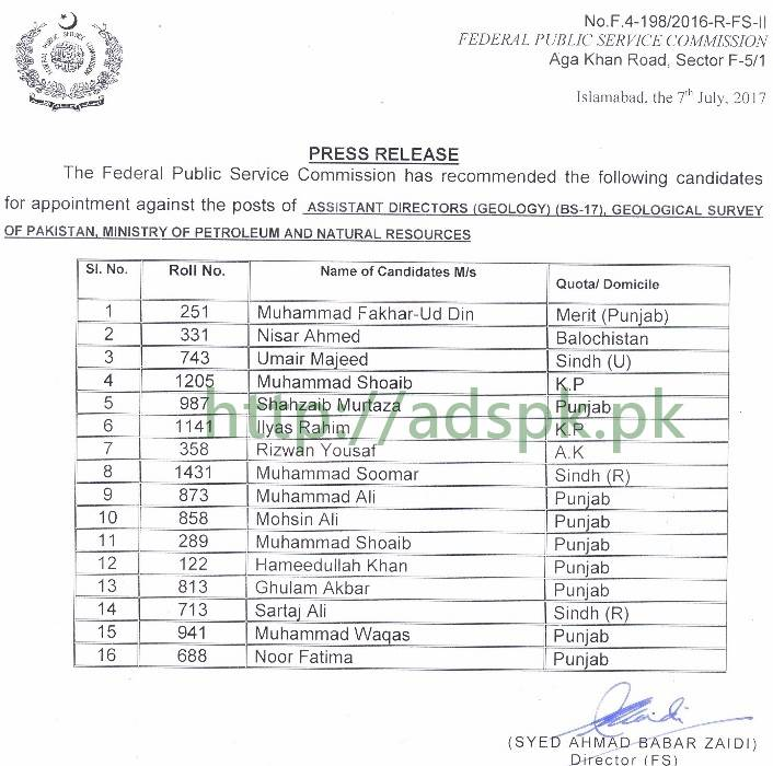 FPSC Results Assistant Director Geology F 4-198/2016 in