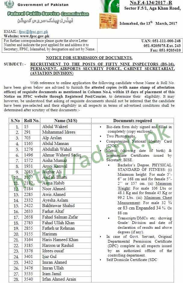 FPSC Results Inspector ASF F.4-134/2017 (3rd Notice) Airports Security Force Candidates Documents Submission with 15 Days Notice Updated on 13-03-2018 by Federal Public Service Commission Islamabad