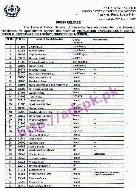 FPSC Results Inspector (Investigation) F 4-123/2015 Appointment in