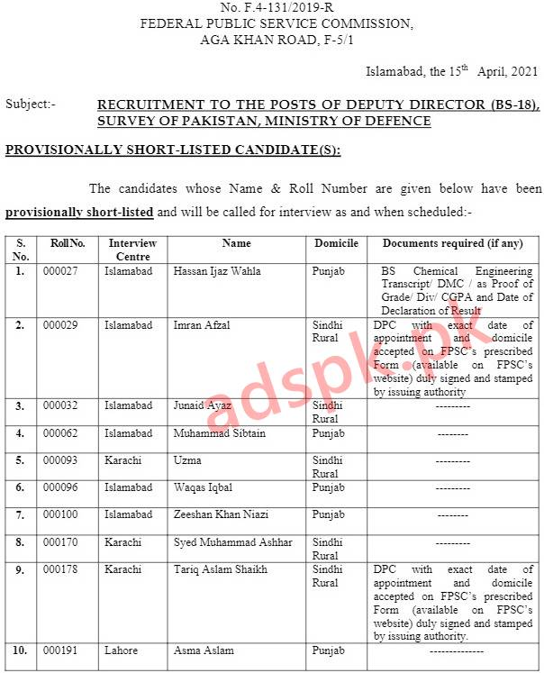 FPSC Results Provisionally Selected Candidates Deputy Director (BS-18) F.4-131-2019-R in Survey of Pakistan Ministry of Defence Results Updated on 15-04-2021 by FPSC Islamabad