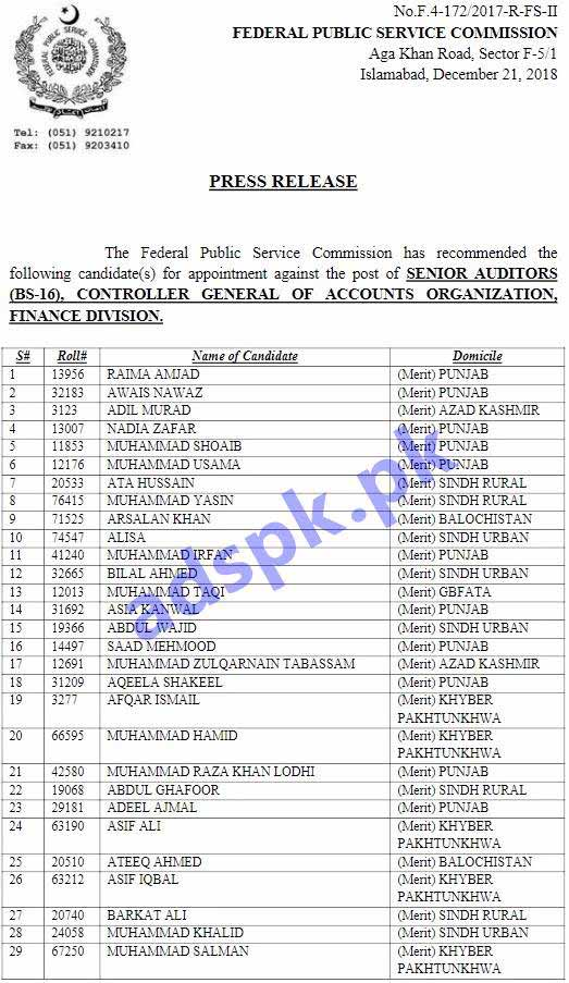 FPSC Results Senior Auditor F.4-172/2017-R Controller General of Accounts Organization Finance Division Results Updated on 21-12-2018 by FPSC Islamabad